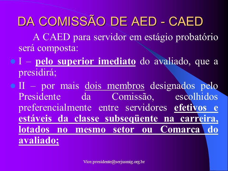 DA COMISSÃO DE AED - CAED