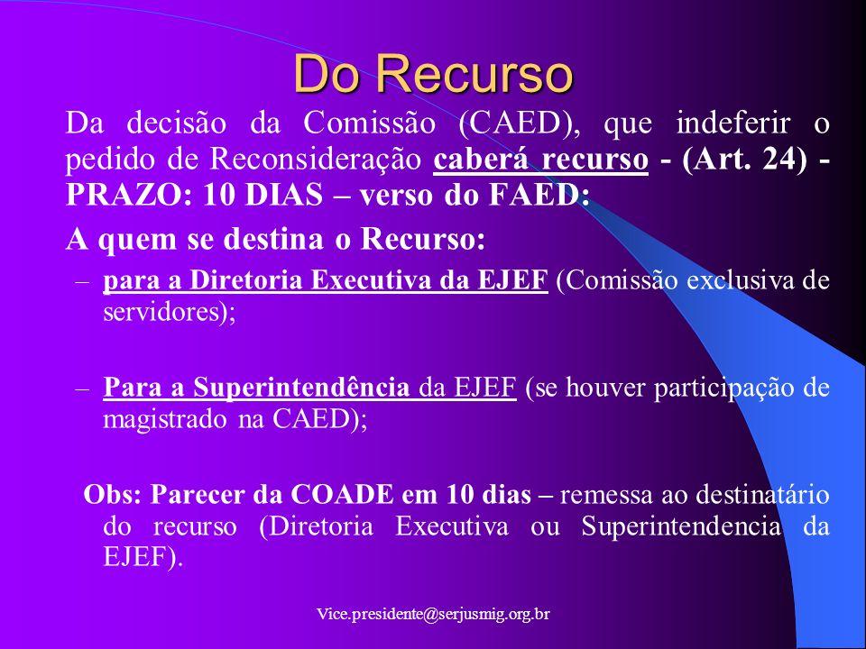 Do Recurso Da decisão da Comissão (CAED), que indeferir o pedido de Reconsideração caberá recurso - (Art. 24) - PRAZO: 10 DIAS – verso do FAED: