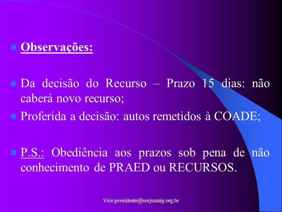 Da decisão do Recurso – Prazo 15 dias: não caberá novo recurso;