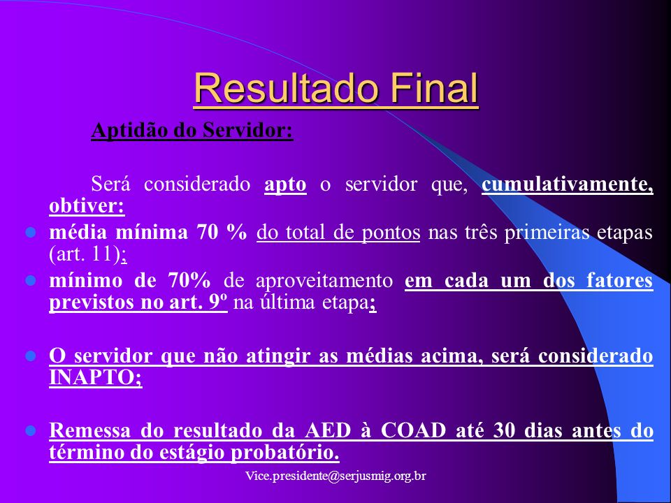 Resultado Final Aptidão do Servidor: