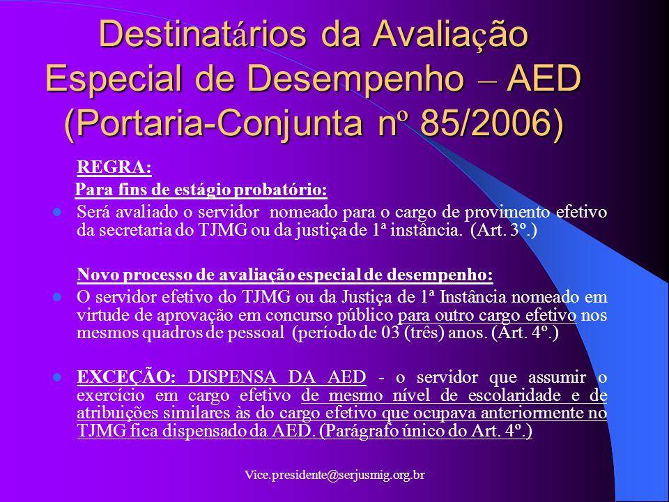 Destinatários da Avaliação Especial de Desempenho – AED (Portaria-Conjunta nº 85/2006)