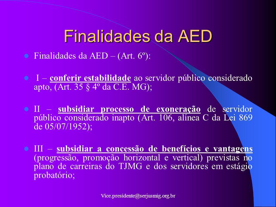 Finalidades da AED Finalidades da AED – (Art. 6º):