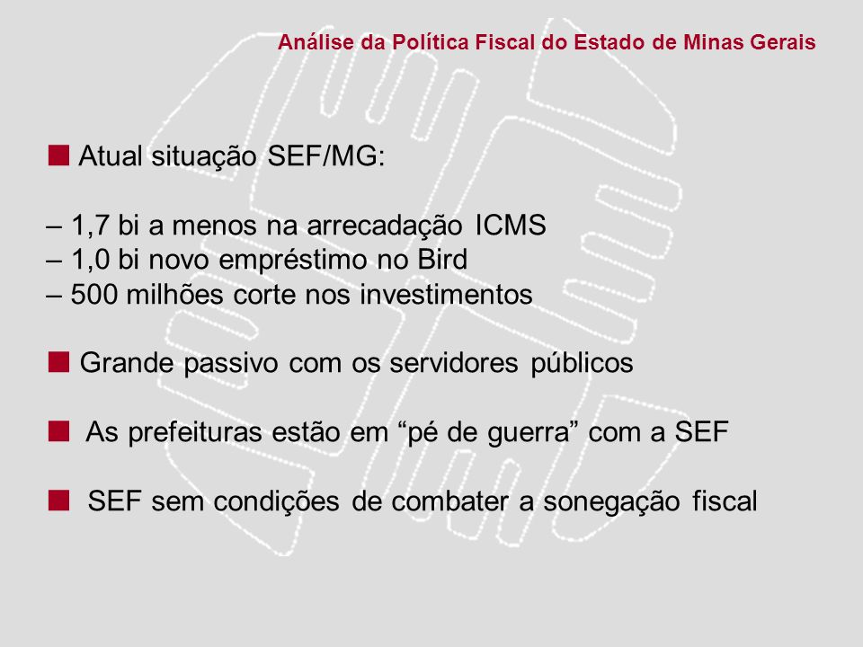  Atual situação SEF/MG: – 1,7 bi a menos na arrecadação ICMS