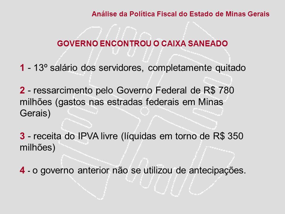 GOVERNO ENCONTROU O CAIXA SANEADO