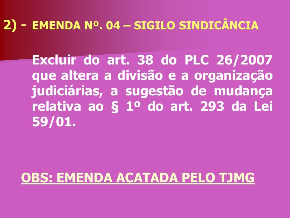 OBS: EMENDA ACATADA PELO TJMG