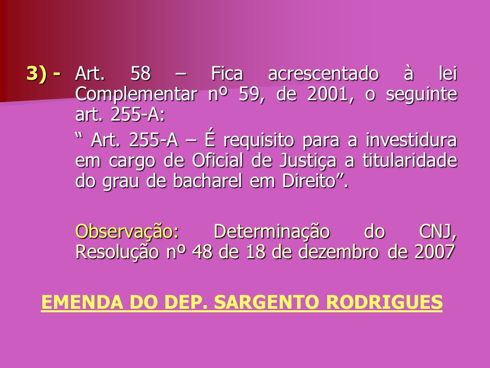 EMENDA DO DEP. SARGENTO RODRIGUES