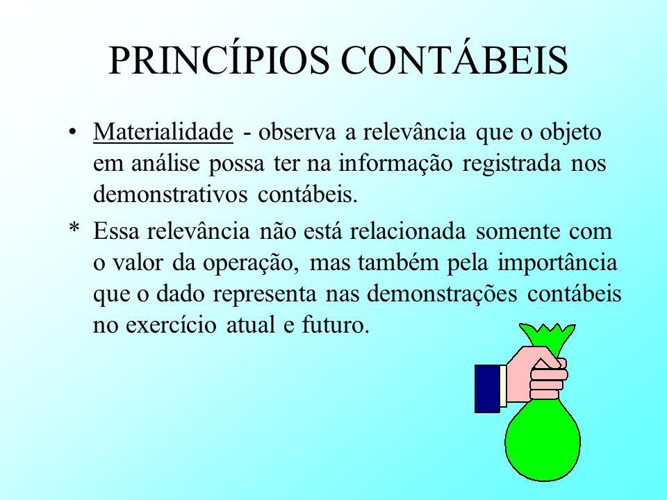 PRINCÍPIOS CONTÁBEISMaterialidade - observa a relevância que o objeto em análise possa ter na informação registrada nos demonstrativos contábeis.