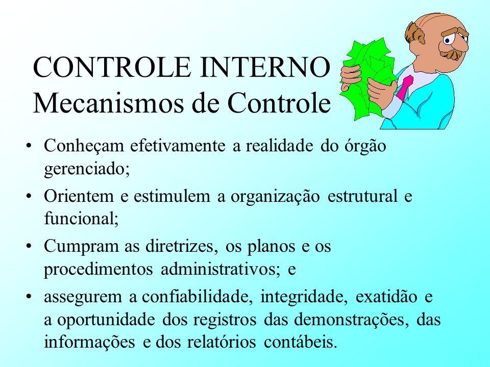 CONTROLE INTERNO Mecanismos de Controle