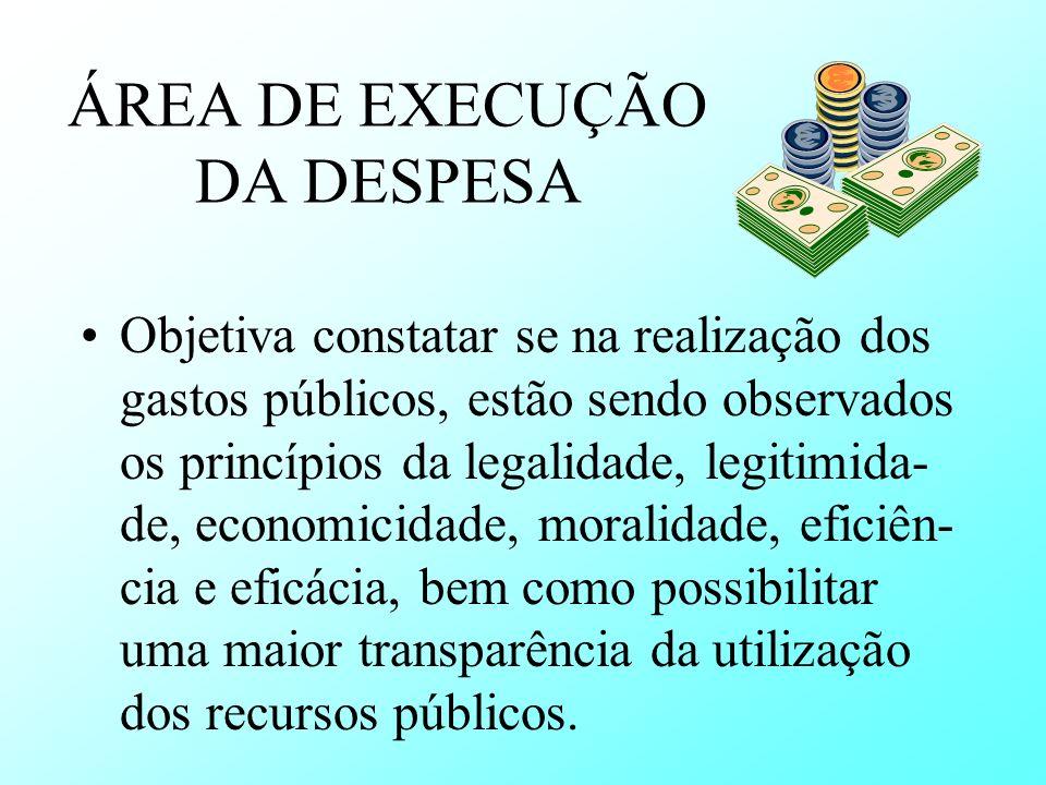 ÁREA DE EXECUÇÃO DA DESPESA
