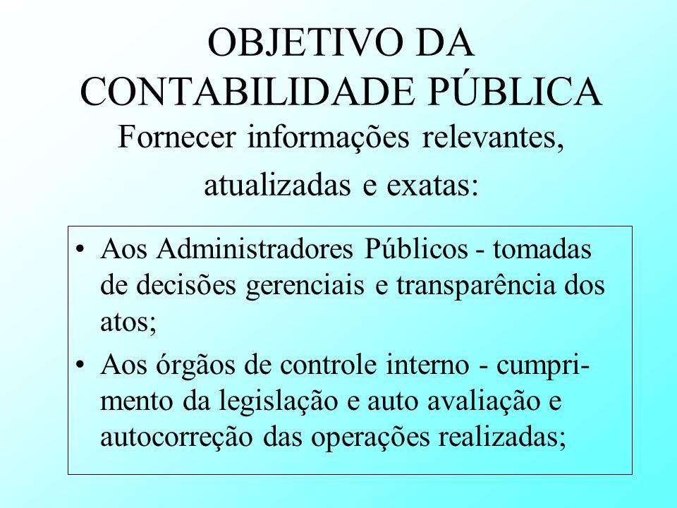 OBJETIVO DA CONTABILIDADE PÚBLICA Fornecer informações relevantes, atualizadas e exatas:
