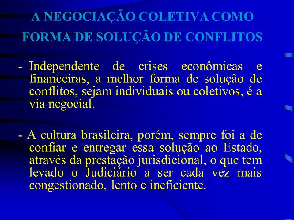 A NEGOCIAÇÃO COLETIVA COMO FORMA DE SOLUÇÃO DE CONFLITOS