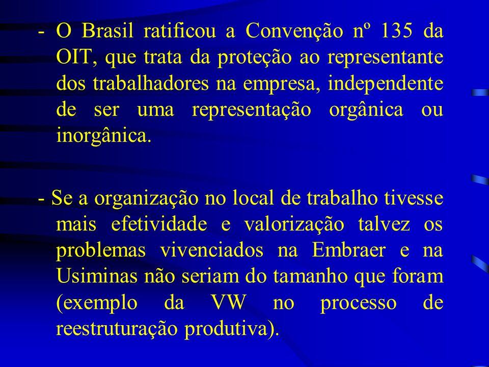 O Brasil ratificou a Convenção nº 135 da OIT, que trata da proteção ao representante dos trabalhadores na empresa, independente de ser uma representação orgânica ou inorgânica.