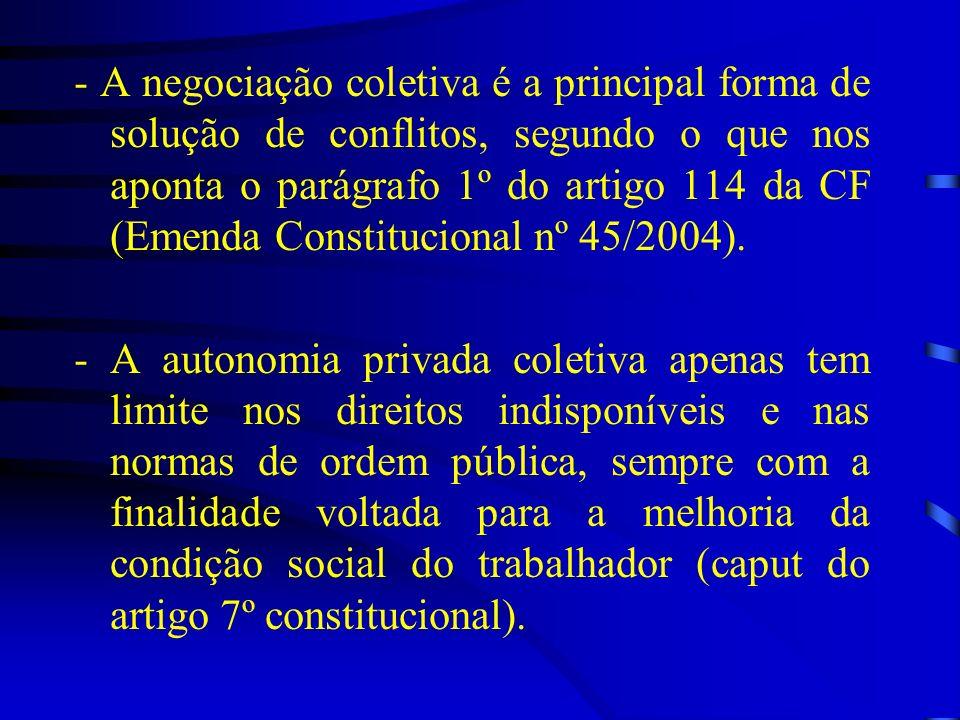 - A negociação coletiva é a principal forma de solução de conflitos, segundo o que nos aponta o parágrafo 1º do artigo 114 da CF (Emenda Constitucional nº 45/2004).