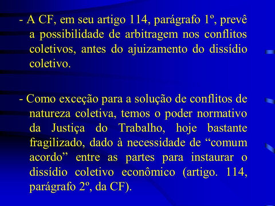- A CF, em seu artigo 114, parágrafo 1º, prevê a possibilidade de arbitragem nos conflitos coletivos, antes do ajuizamento do dissídio coletivo.