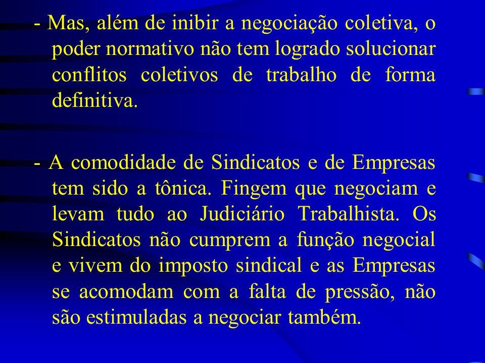 - Mas, além de inibir a negociação coletiva, o poder normativo não tem logrado solucionar conflitos coletivos de trabalho de forma definitiva.
