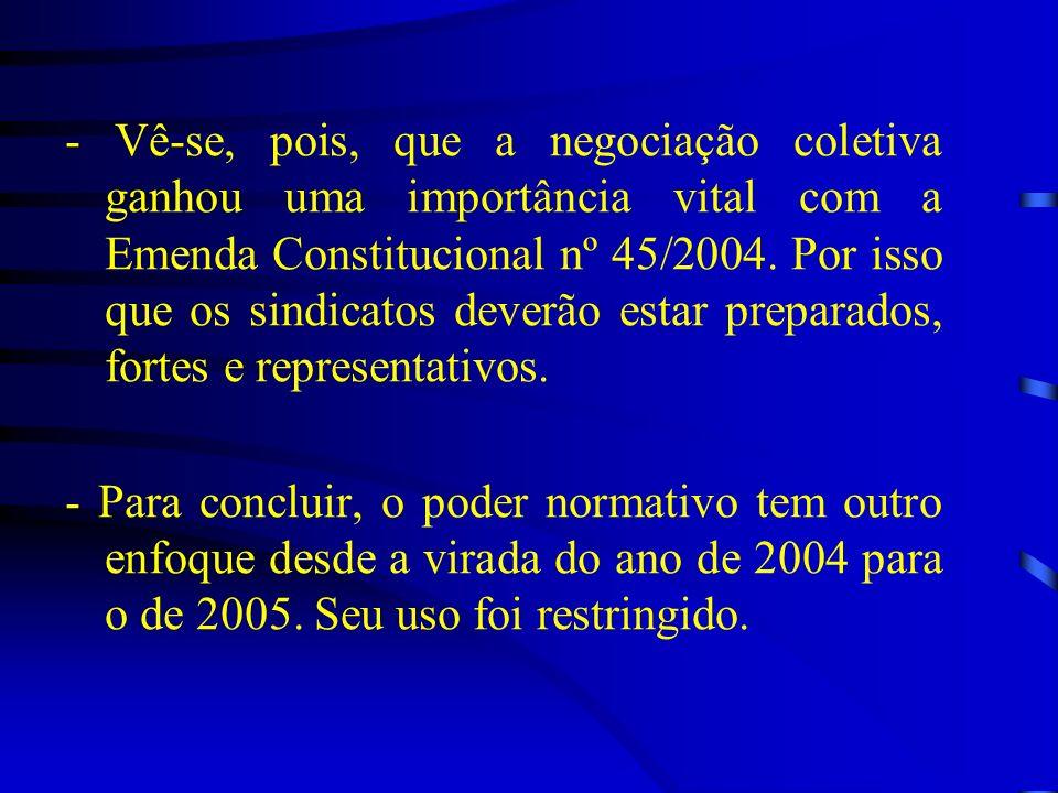 - Vê-se, pois, que a negociação coletiva ganhou uma importância vital com a Emenda Constitucional nº 45/2004. Por isso que os sindicatos deverão estar preparados, fortes e representativos.
