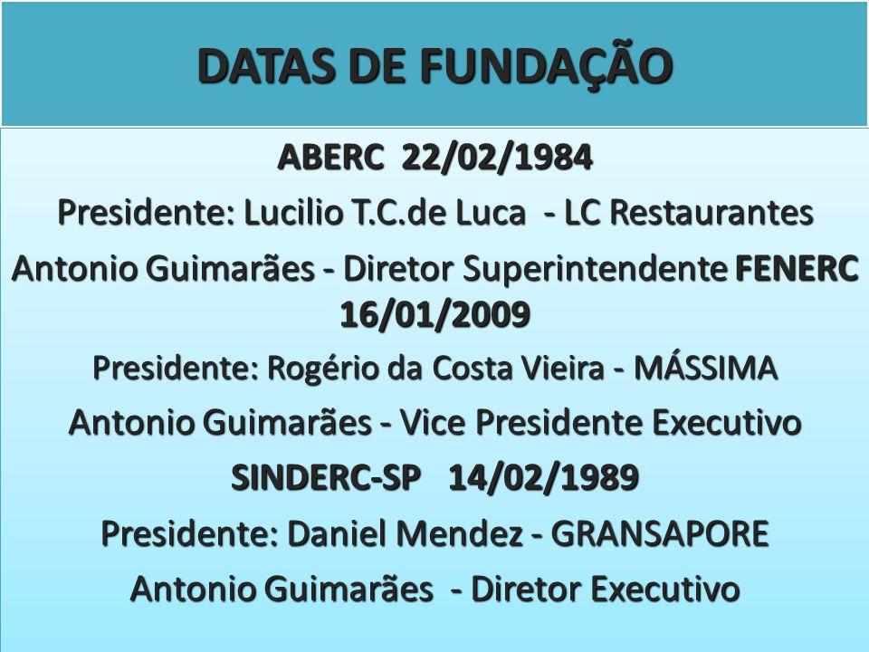DATAS DE FUNDAÇÃO ABERC 22/02/1984
