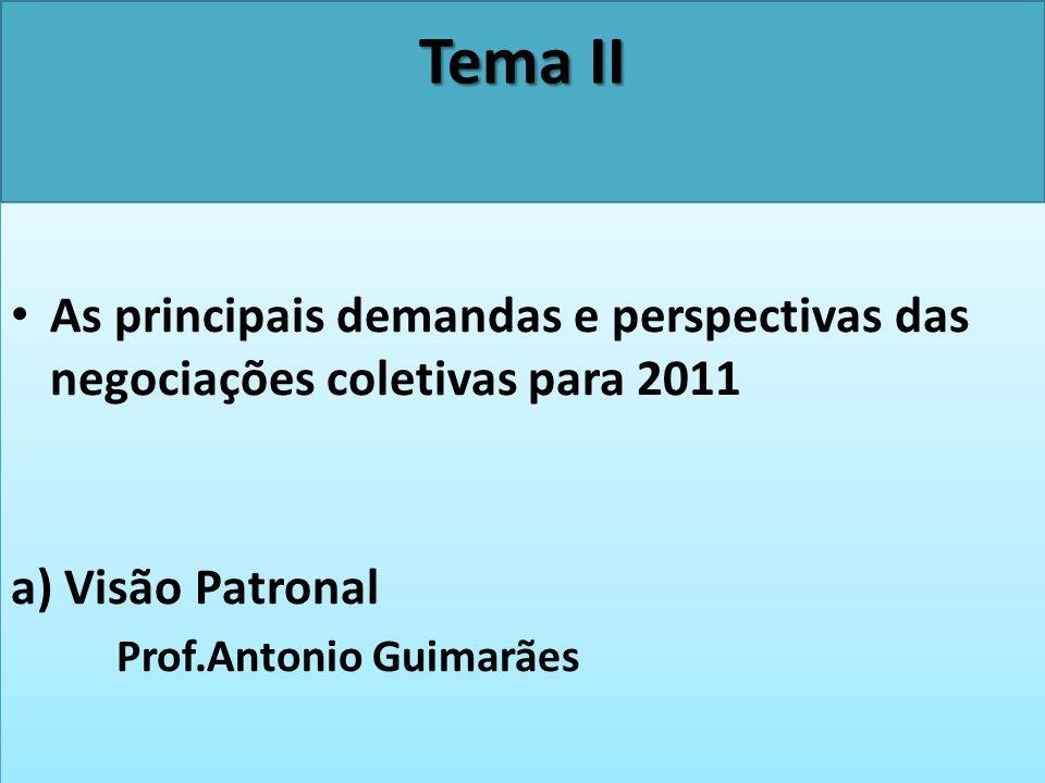 Tema II As principais demandas e perspectivas das negociações coletivas para 2011. a) Visão Patronal.