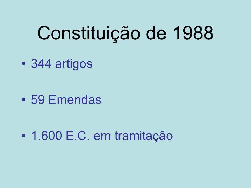 Constituição de 1988 344 artigos 59 Emendas 1.600 E.C. em tramitação