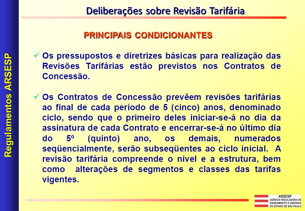 Deliberações sobre Revisão Tarifária