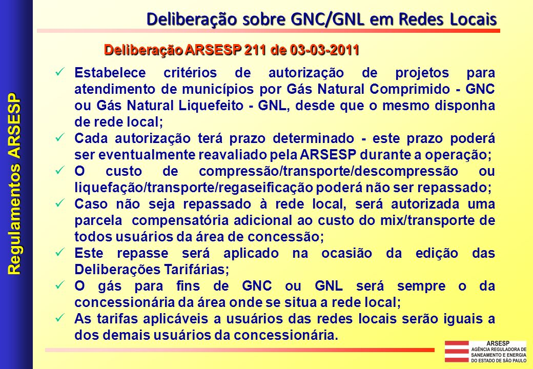 Deliberação sobre GNC/GNL em Redes Locais