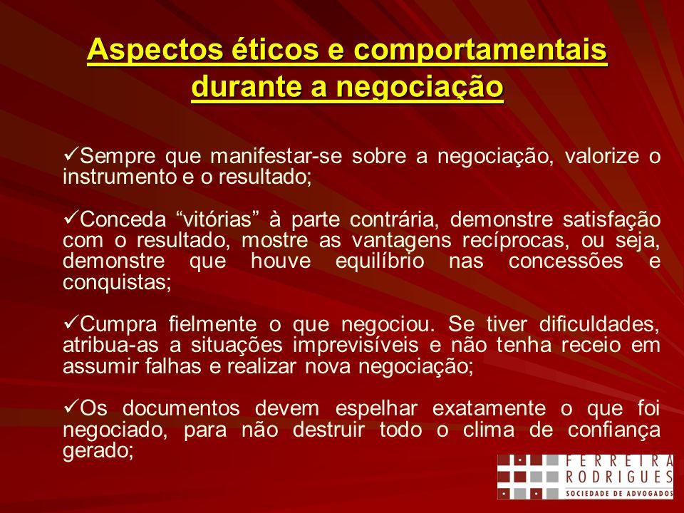 Aspectos éticos e comportamentais durante a negociação