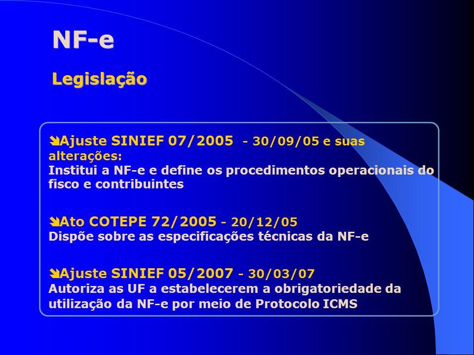 NF-e Legislação Ajuste SINIEF 07/2005 - 30/09/05 e suas alterações: