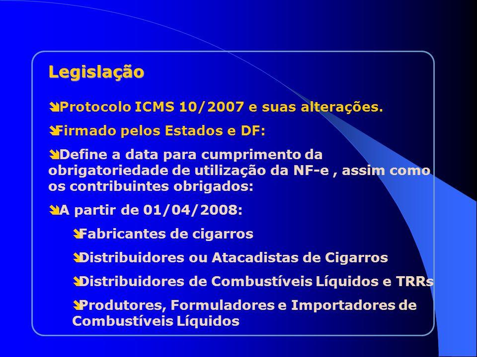 Legislação Protocolo ICMS 10/2007 e suas alterações.