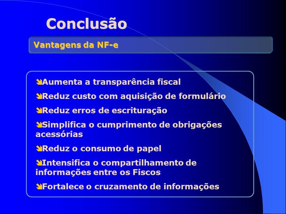 Conclusão Vantagens da NF-e Aumenta a transparência fiscal