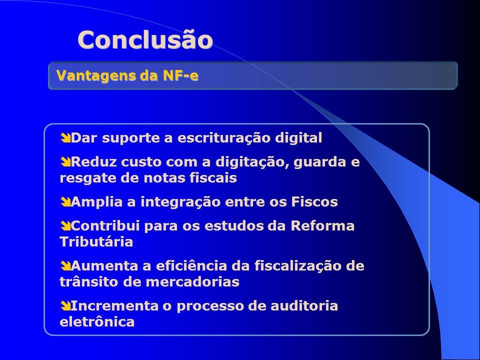 Conclusão Vantagens da NF-e Dar suporte a escrituração digital