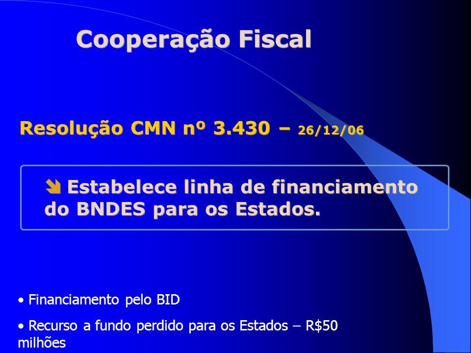 Cooperação Fiscal Resolução CMN nº 3.430 – 26/12/06