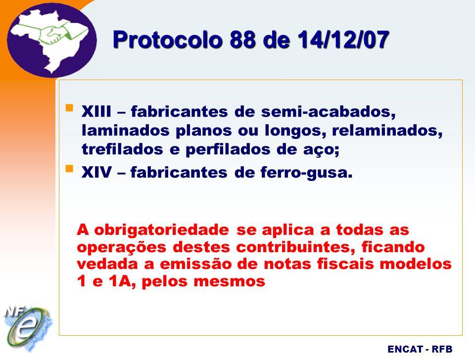 Protocolo 88 de 14/12/07 XIII – fabricantes de semi-acabados, laminados planos ou longos, relaminados, trefilados e perfilados de aço;