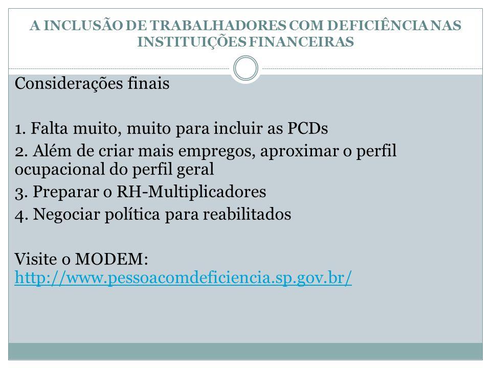 A INCLUSÃO DE TRABALHADORES COM DEFICIÊNCIA NAS INSTITUIÇÕES FINANCEIRAS