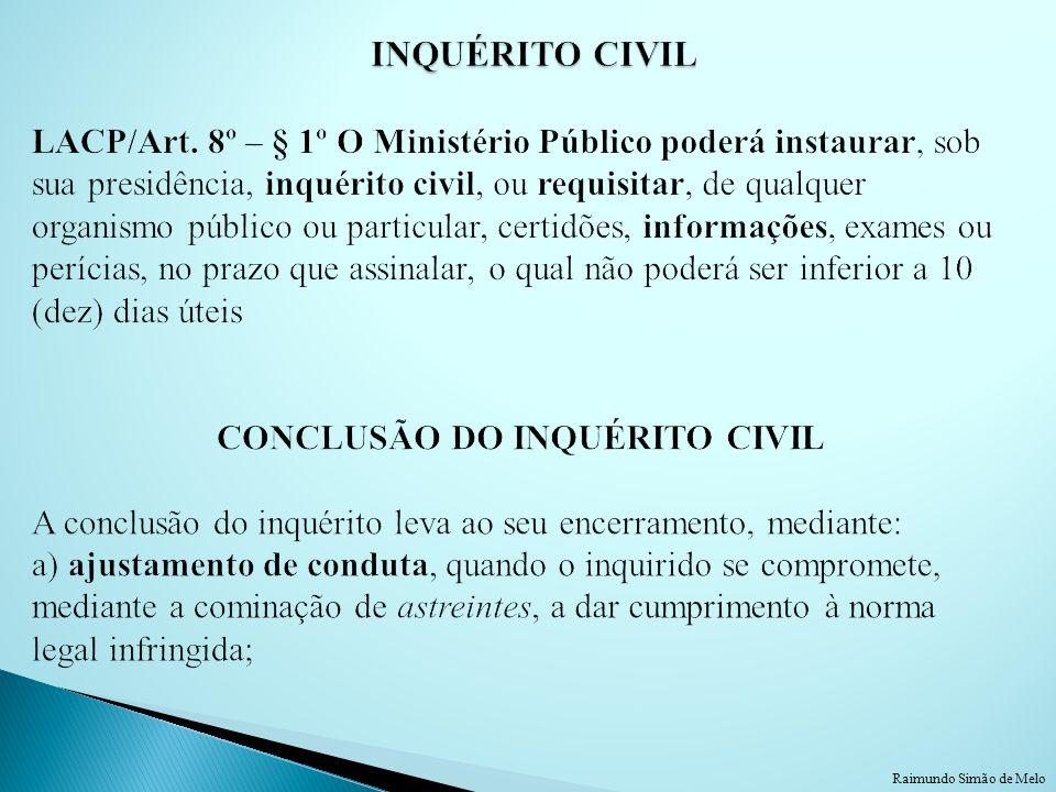 INQUÉRITO CIVIL LACP/Art