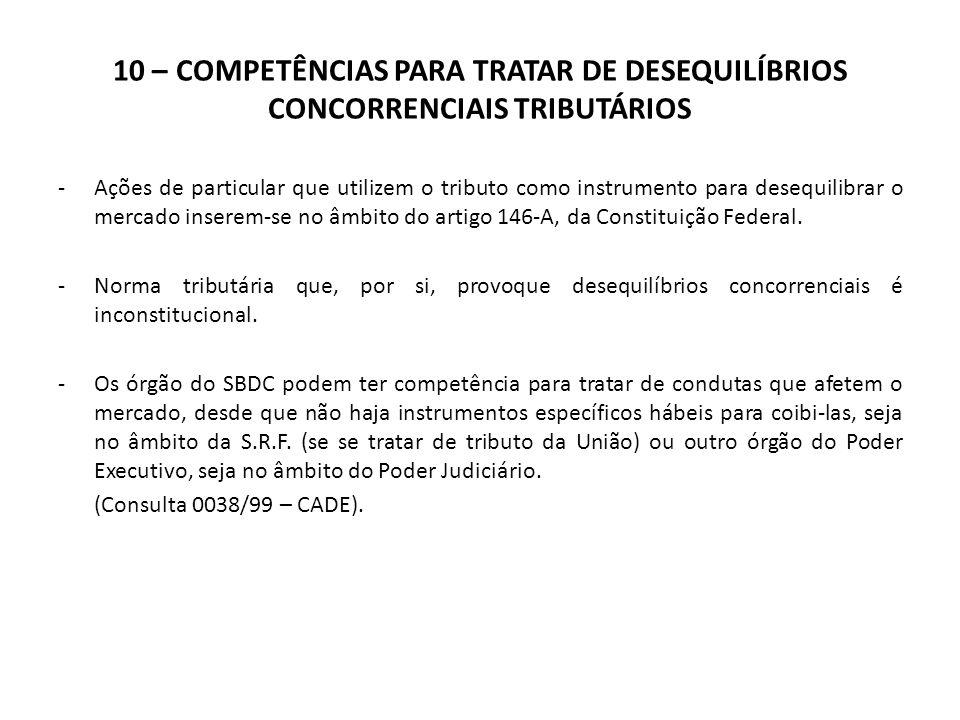 10 – COMPETÊNCIAS PARA TRATAR DE DESEQUILÍBRIOS CONCORRENCIAIS TRIBUTÁRIOS