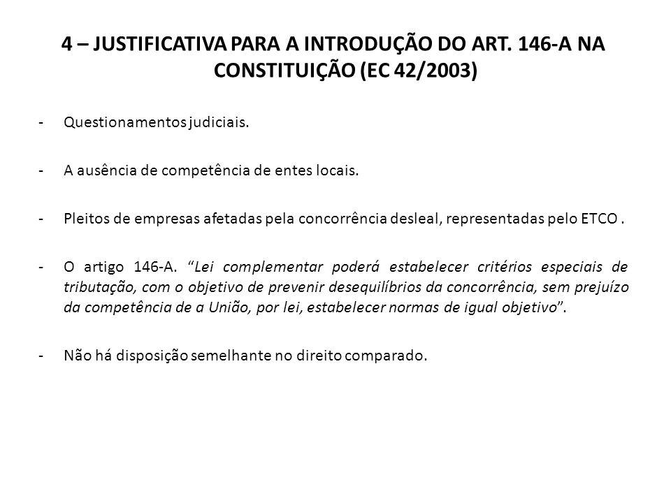 4 – JUSTIFICATIVA PARA A INTRODUÇÃO DO ART