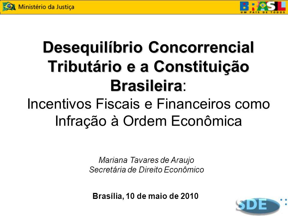 Desequilíbrio Concorrencial Tributário e a Constituição Brasileira: Incentivos Fiscais e Financeiros como Infração à Ordem Econômica
