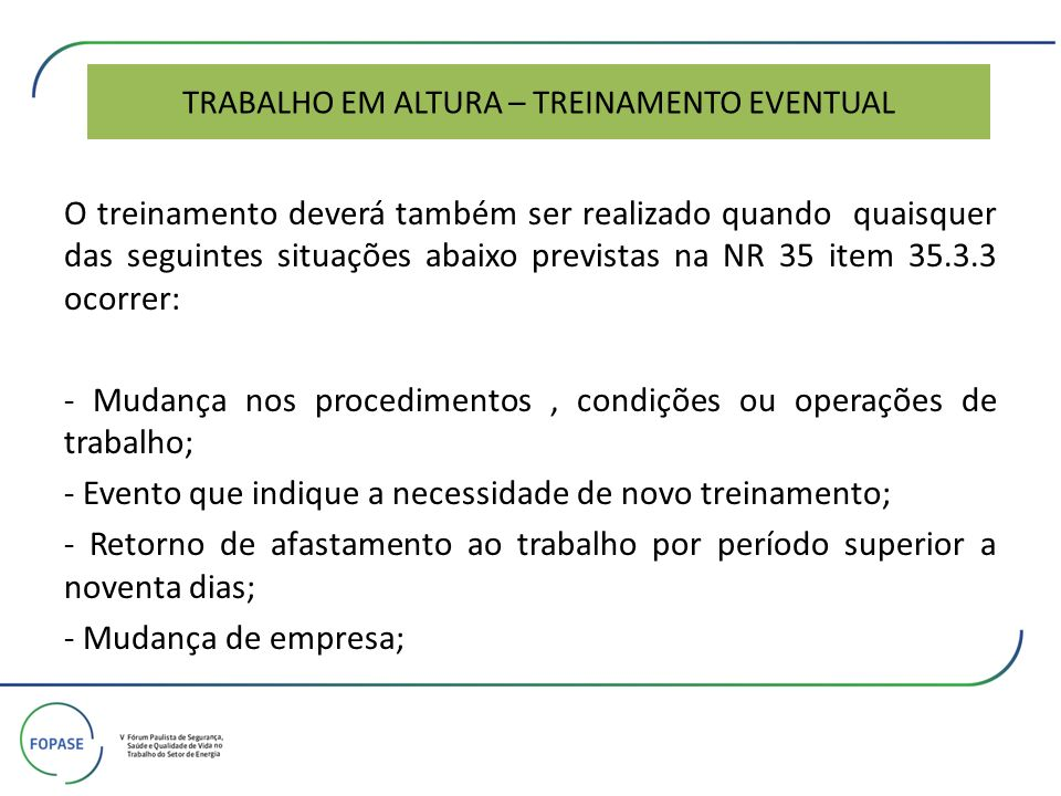 TRABALHO EM ALTURA – TREINAMENTO EVENTUAL