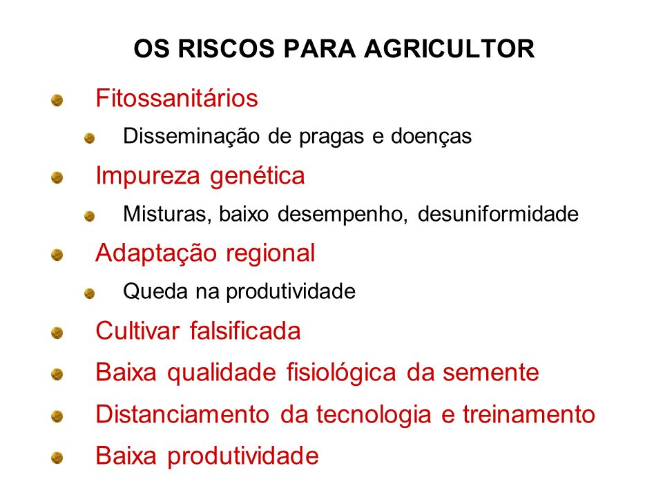 OS RISCOS PARA AGRICULTOR
