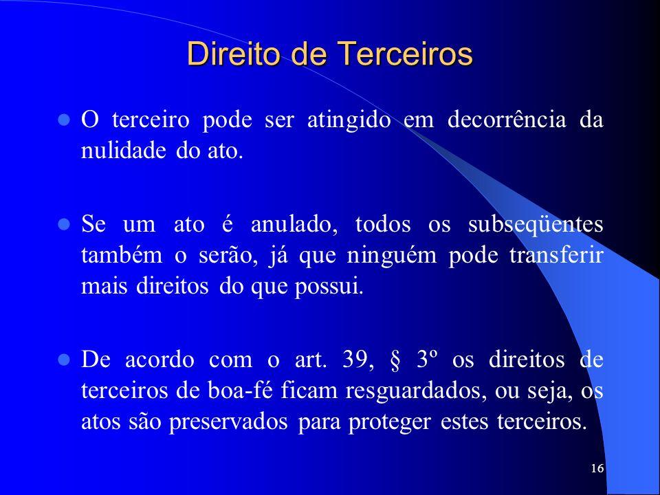 Direito de Terceiros O terceiro pode ser atingido em decorrência da nulidade do ato.