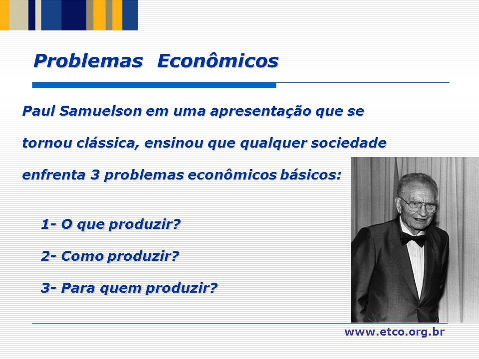Problemas Econômicos Paul Samuelson em uma apresentação que se tornou clássica, ensinou que qualquer sociedade.
