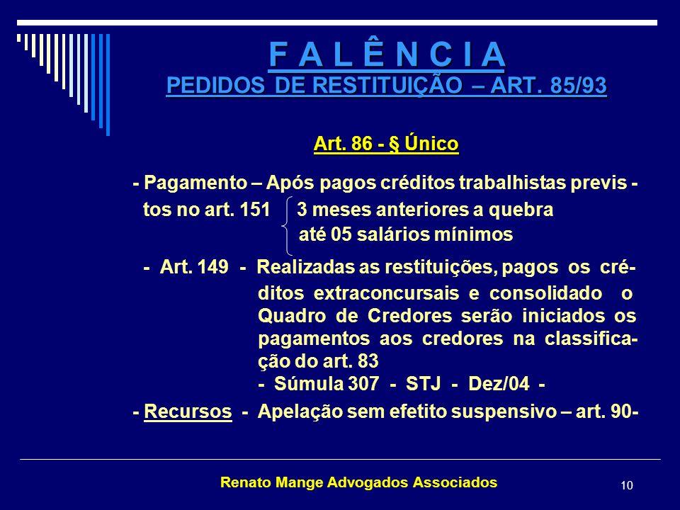 F A L Ê N C I A PEDIDOS DE RESTITUIÇÃO – ART. 85/93