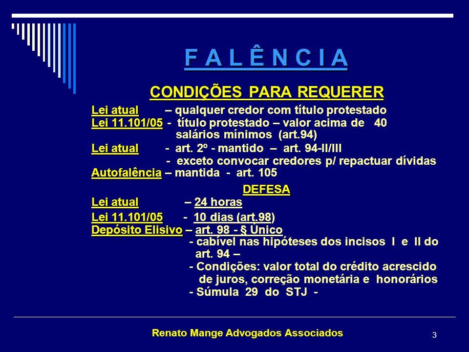 CONDIÇÕES PARA REQUERER Renato Mange Advogados Associados