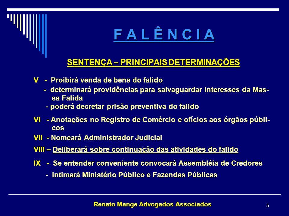 SENTENÇA – PRINCIPAIS DETERMINAÇÕES Renato Mange Advogados Associados