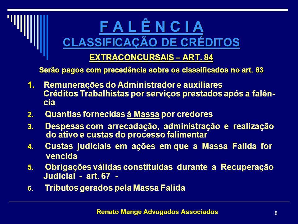 F A L Ê N C I A CLASSIFICAÇÃO DE CRÉDITOS
