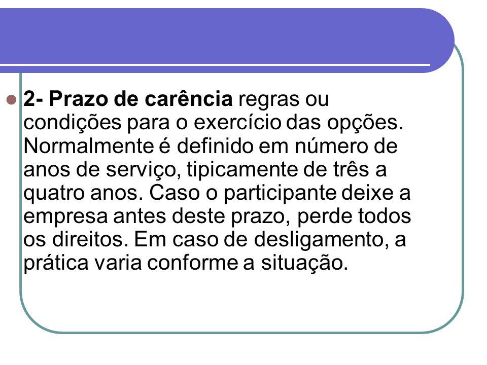 2- Prazo de carência regras ou condições para o exercício das opções