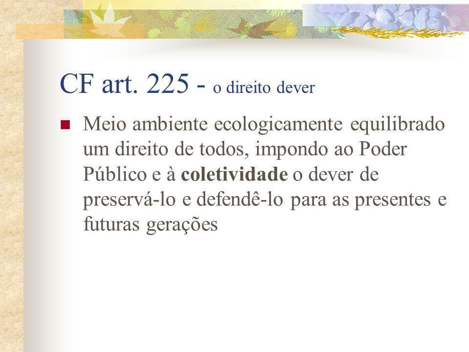 CF art. 225 - o direito dever