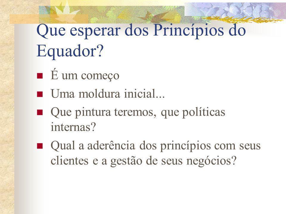 Que esperar dos Princípios do Equador