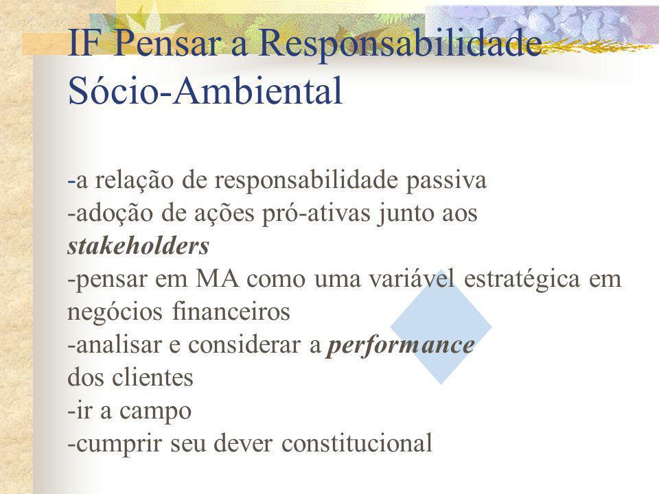 IF Pensar a Responsabilidade Sócio-Ambiental -a relação de responsabilidade passiva -adoção de ações pró-ativas junto aos stakeholders -pensar em MA como uma variável estratégica em negócios financeiros -analisar e considerar a performance dos clientes -ir a campo -cumprir seu dever constitucional
