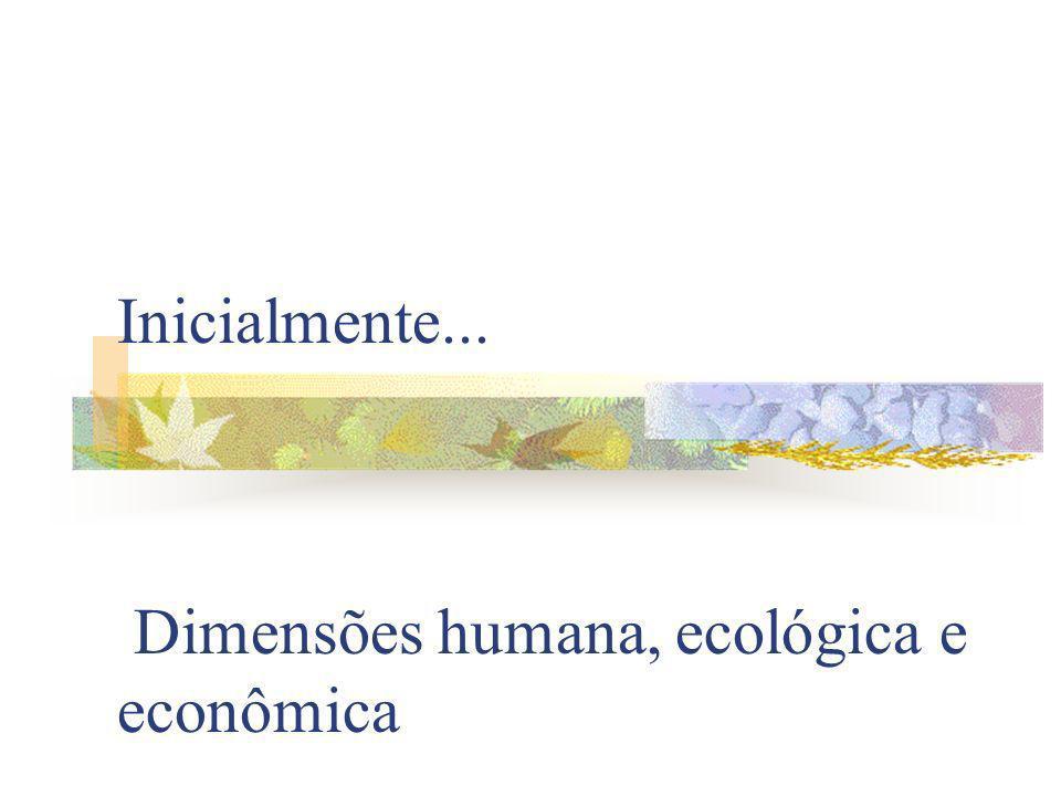 Inicialmente... Dimensões humana, ecológica e econômica